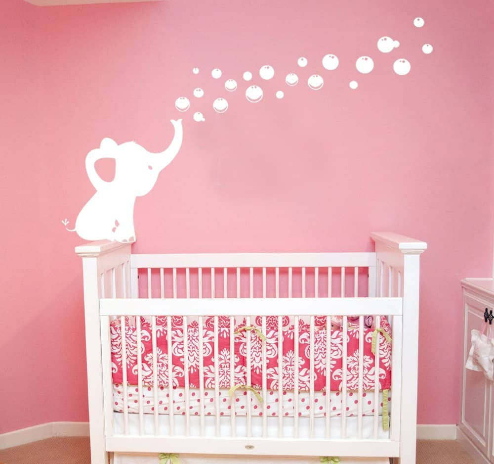 Elephant Blowing Bubbles Wall Decal Vinyl Wall Sticker Baby Nursery Decor Kids Room Wall Stickers