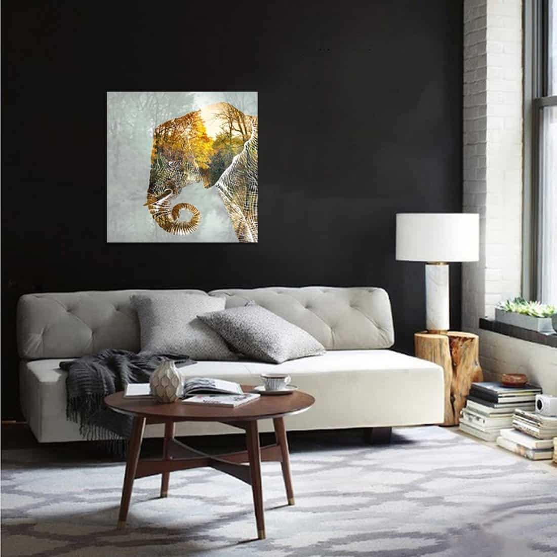 Elephant Painting Wall Art With Framed for Living Room