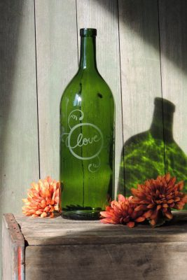 Etched Wine Bottle, Love and Vines Etching, Green