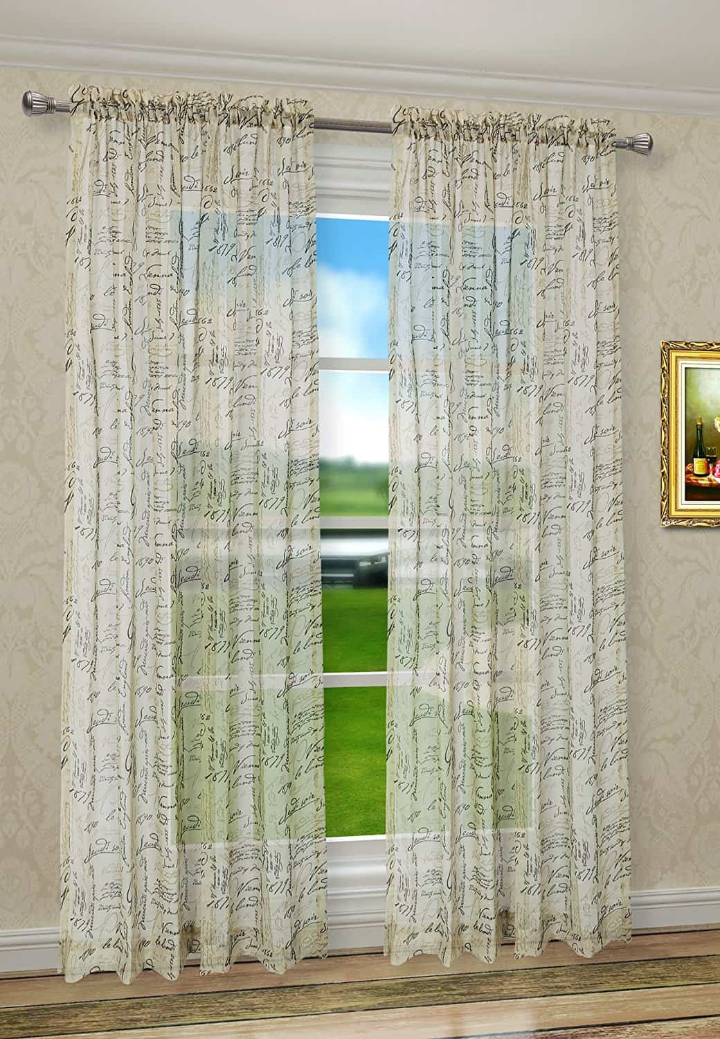 Euphoria CaliTime French Script Faux Linen Sheers Window Curtains