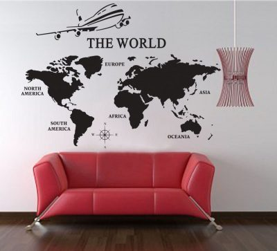 Extra Large World Map of Earth Wall Decal Vinyl Art Wall Sticker