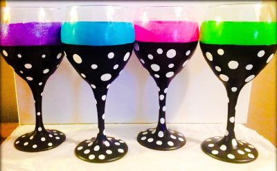 Four Hand Painted Wine Glasses, Polka Dot Wine Glasses