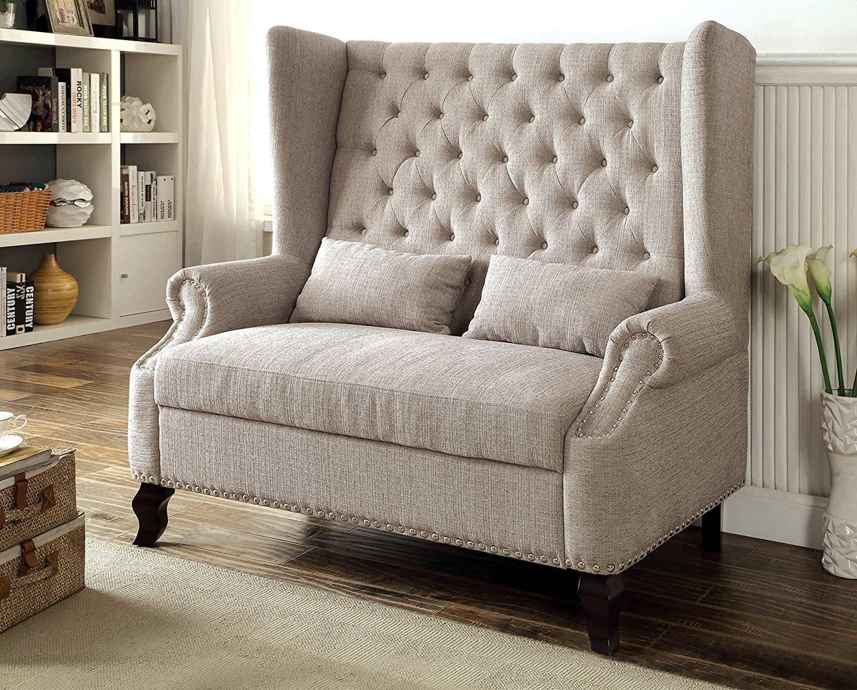 Furniture of America Adia Romantic Wingback Love Seat Chair, Beige