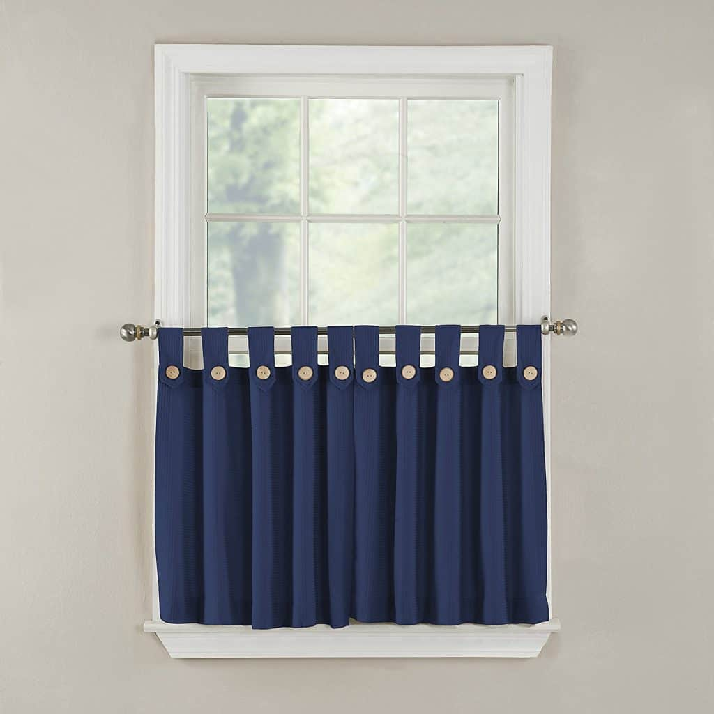 GPD Newport 60-inch x 24 inch Button Tab Top Tier Curtain