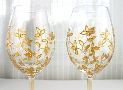Gold Floral Design, Hand Painted Wine Glasses