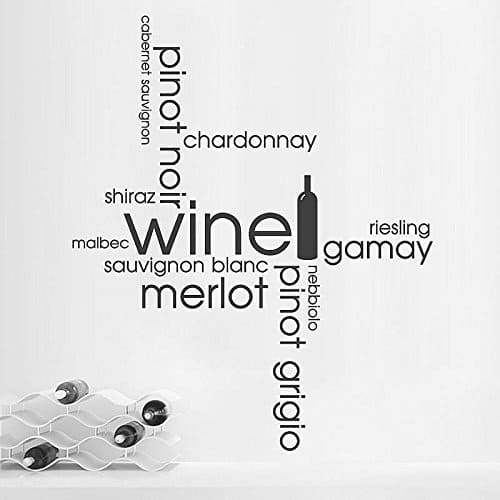 HUANYI Wine Word Cloud Kitchen Dining Montage Wall Sticker Art Decal Vinyl Transfer