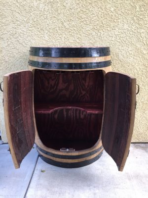 Half Oak Wine Barrel Cabinet