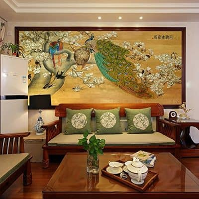 Hand Painted Traditional Chinese Painting Animal Beautiful Peacock on Flowers Wall Art