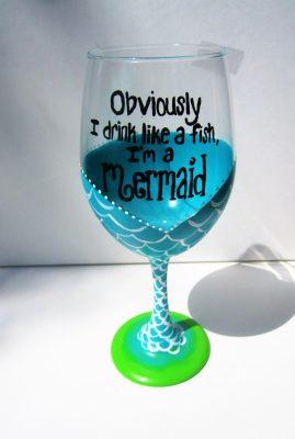Hand Painted Wine Glasses, Mermaid Wine Glass