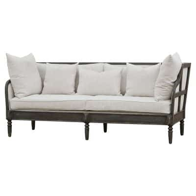 Henrietta French Country Solid Walnut Natural Linen Sofa