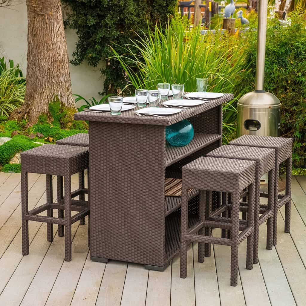 Home Loft Concept Redondo 7 Piece Outdoor Furniture Bar Set
