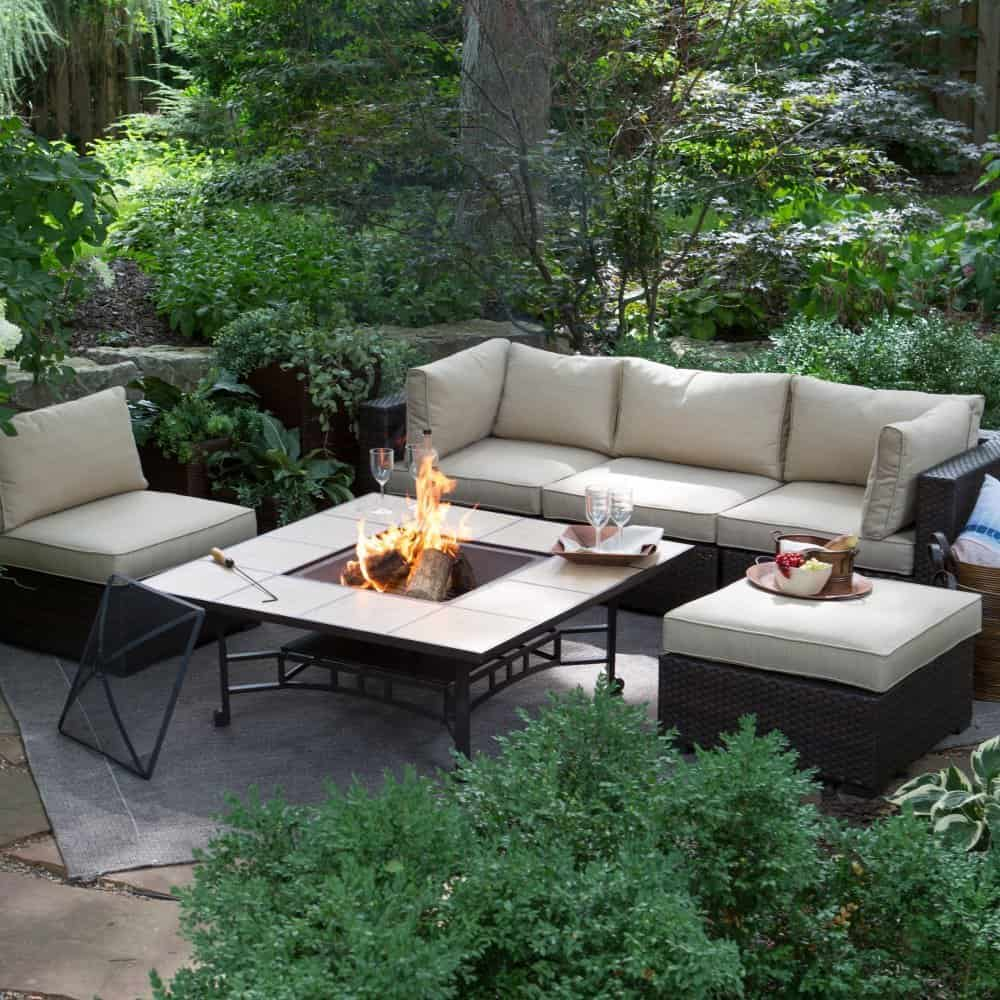 Brown Modern All Weather Wicker 50 in. Fire Pit Chair Set