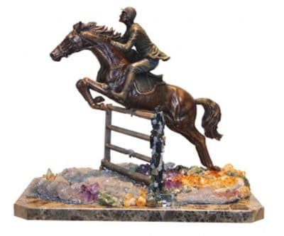 Horse race sculpture rested on marble base with semi precious stones