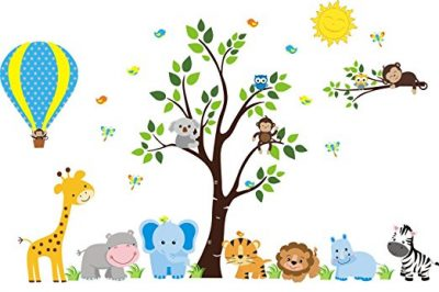 Hot Air Balloon Wall Decal - Cute Animal Stickers
