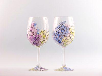 Hydrangea Flower Wine Glasses