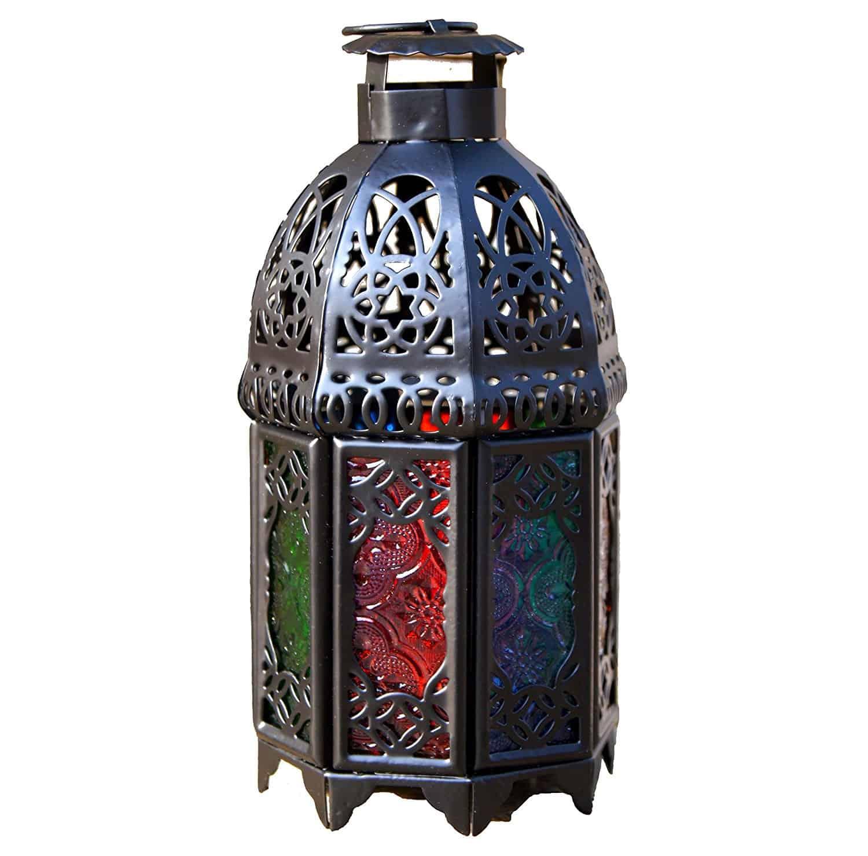 Ivenf Moroccan Style Matte Black Cast Iron Handmade Octagonal Candle Lantern