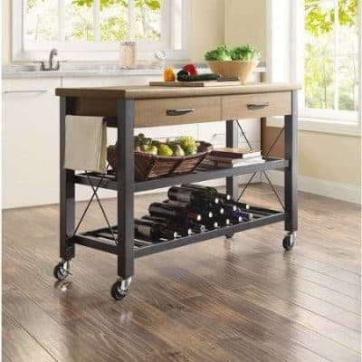 Kitchen Multi-functional Cart with Metal Shelves with Wine Rack