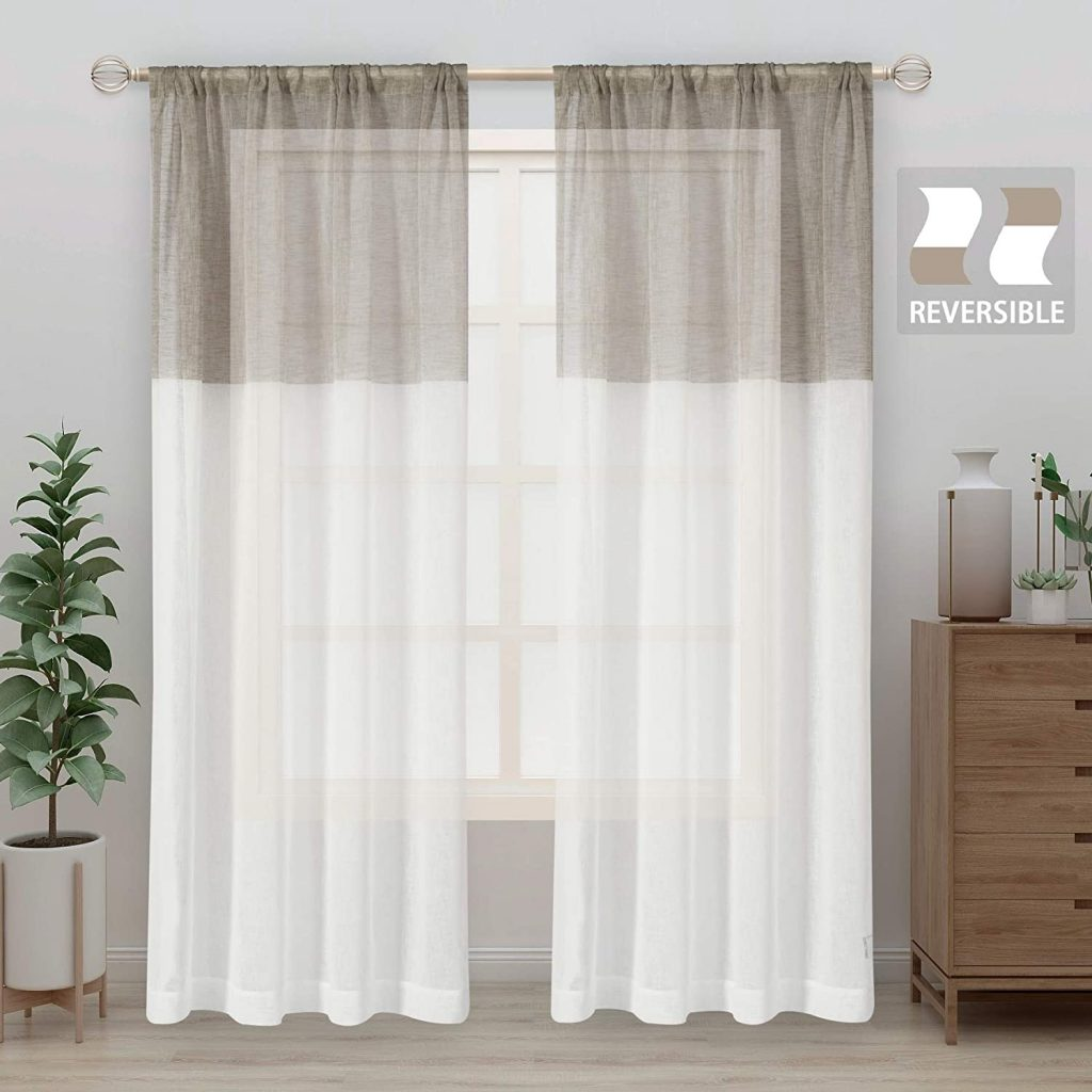 LORDTEX Color Block Sheer Curtains - Linen Look Semi Sheer Drapes 63 inches Length Rod Pocket Voile Window Curtain