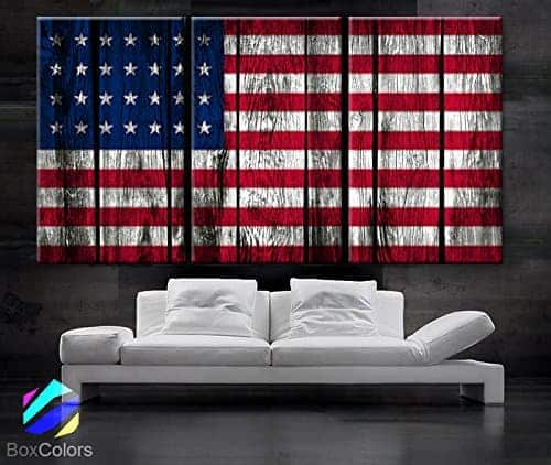 Large 30x 60 3 Panels 30x20 Ea Art Canvas Print Original American Flag Glory Old Wood Texture