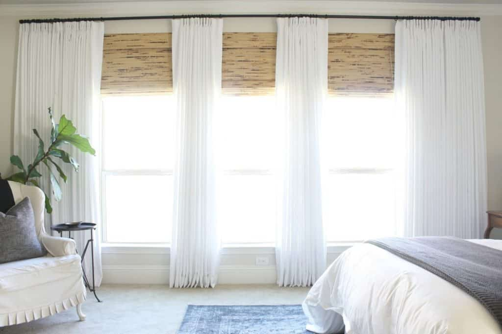 bamboo blinds with sheer drapes