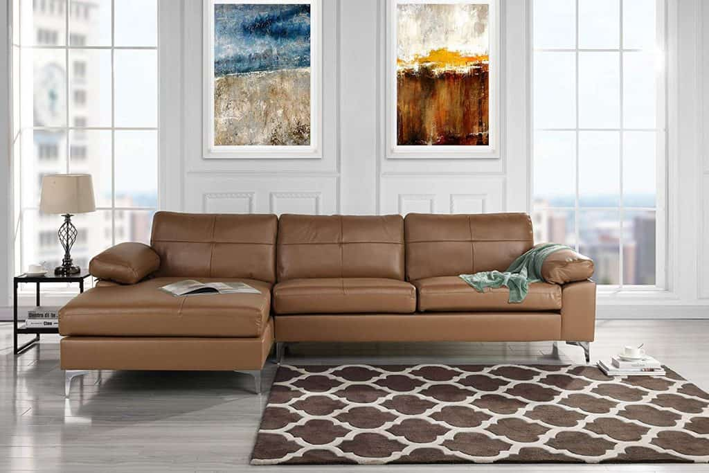 Leather Sectional Sofa, L-Shape Couch with Chaise (Light Brown)