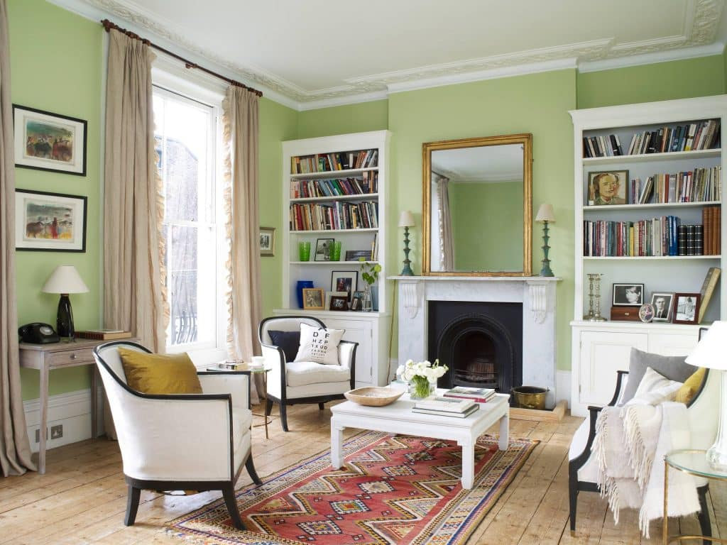 Living room with walls painted with Mylands Colours of London French Green No. 187.