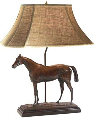LodgeandCabins Thoroughbred Horse Lamp, Bronze