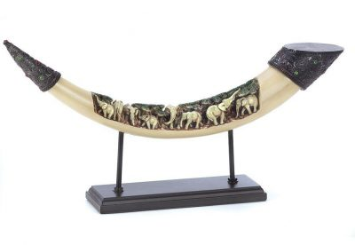 Lucky Elephants Tusk Sculpture Ivory African Art Decor
