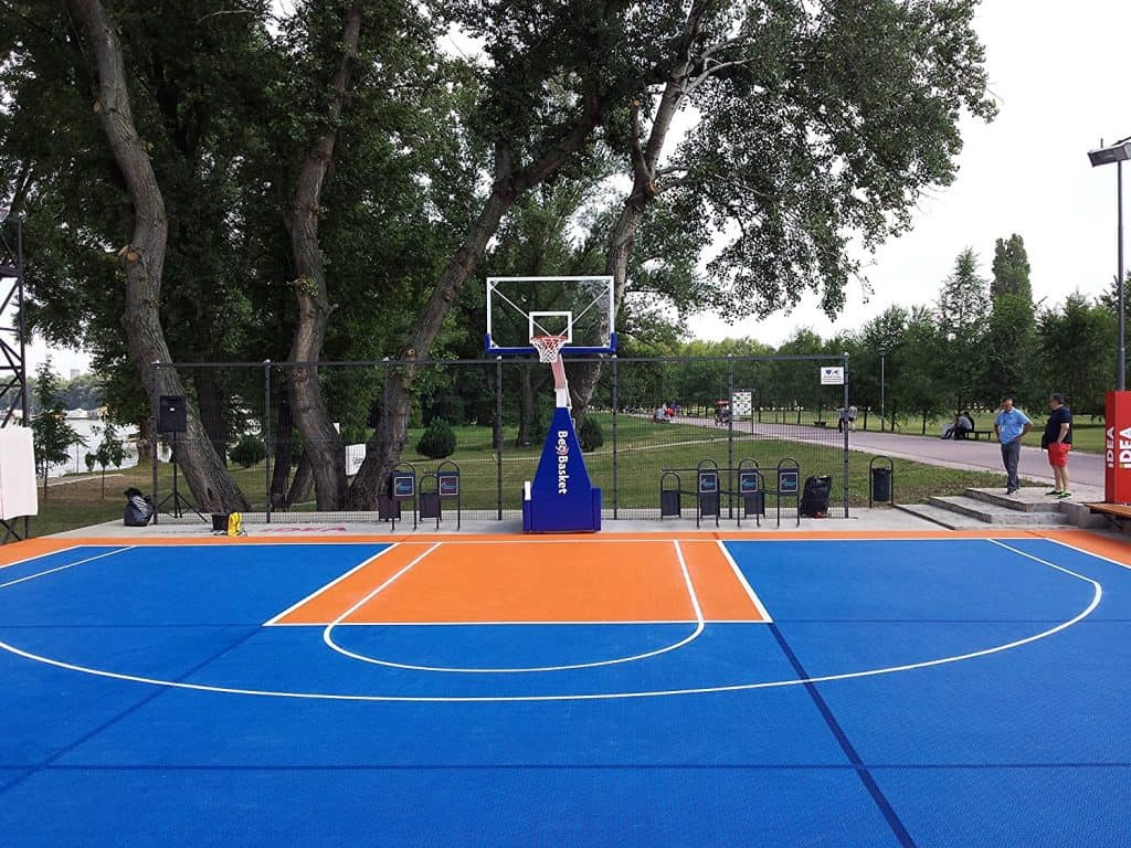 Mats Inc. Bergo Basketball Court Tiles, Blue and Orange