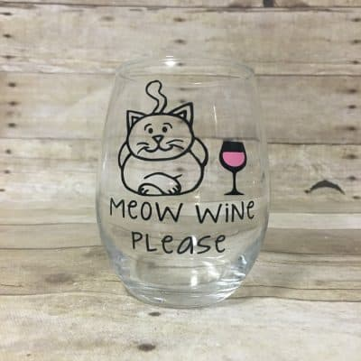 Meow Wine Please! Custom Cat Themed Stemless Wine Glass