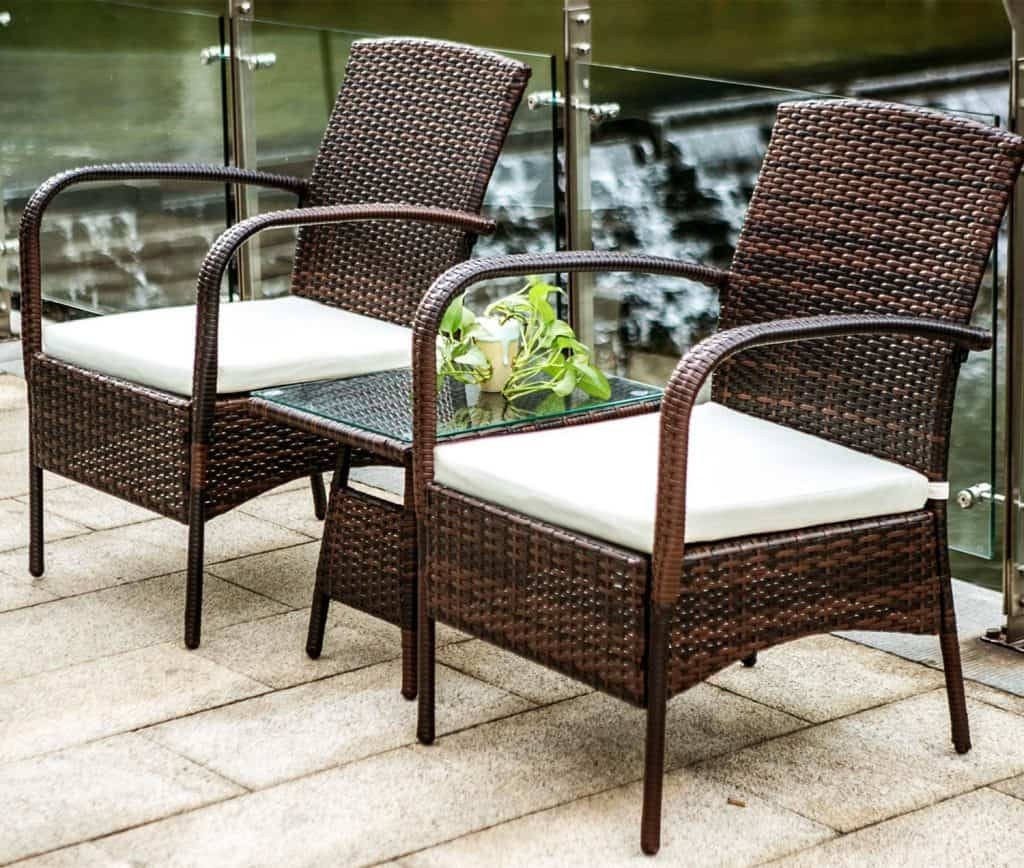 Merax 3 Piece Cushioned Patio PE Rattan Furniture Set
