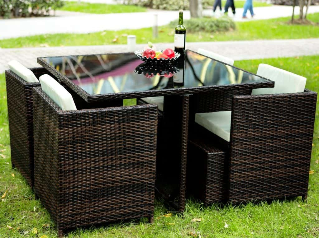 Merax 9 Pc Modern IndoorOutdoor All Weather PE Wicker Rattan Table Patio Set