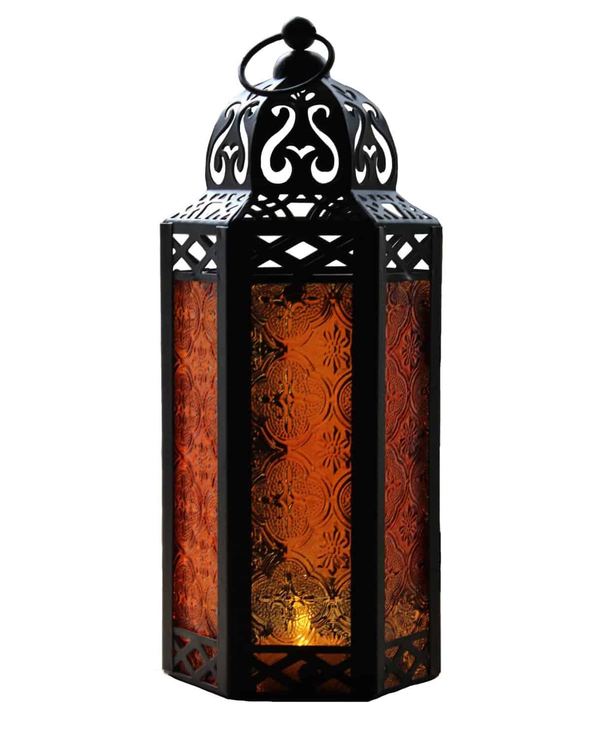 Mid Size Tablehanging Amber Glass Hexagon Moroccan Candle Lantern Holders