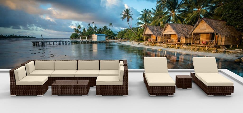 Modern Outdoor Backyard Wicker Rattan Patio Furniture Sofa