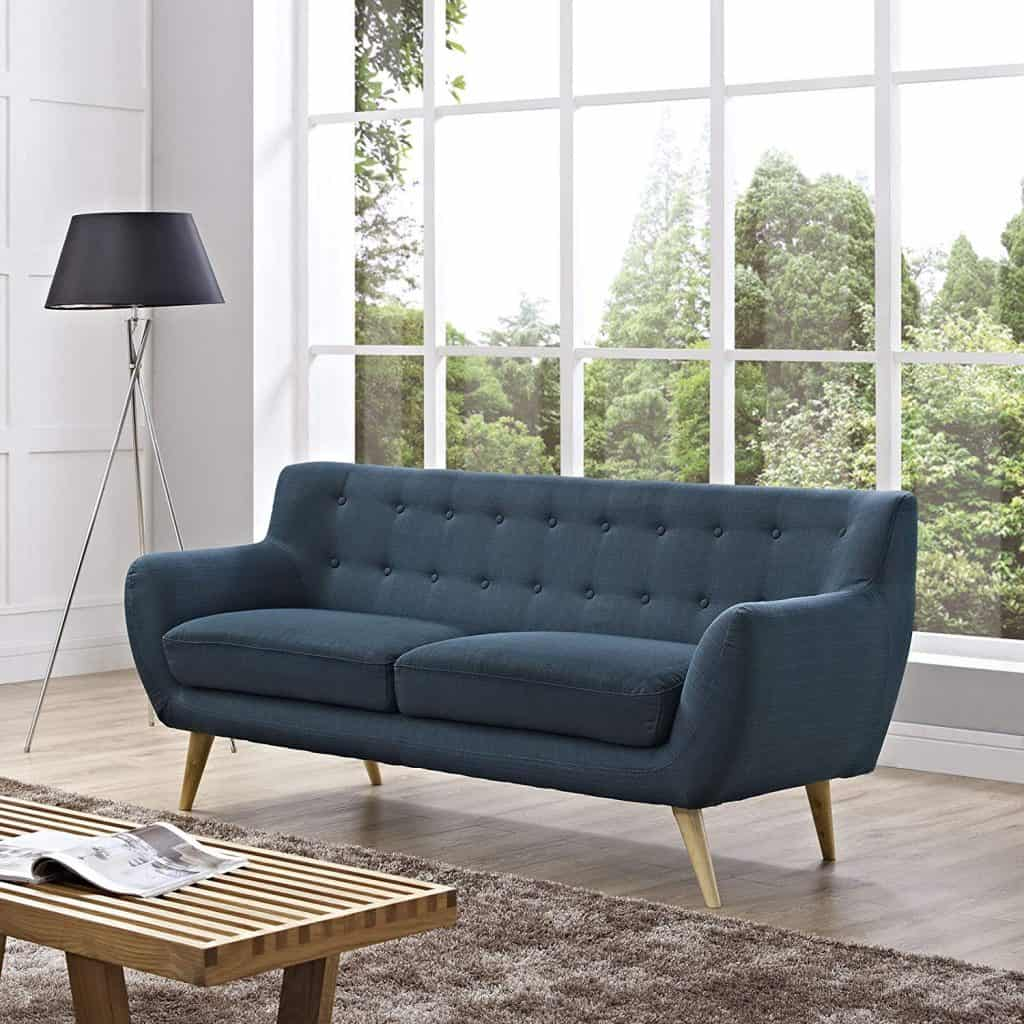 Modway Remark Mid-Century Modern Sofa With Upholstered Fabric In Azure