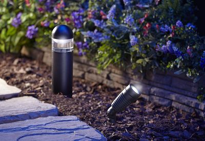 Moonrays 95549 LED Low Voltage Kit with 2 Metal Spotlights & 4 Bollard Path Lights - landscape lighting ideas