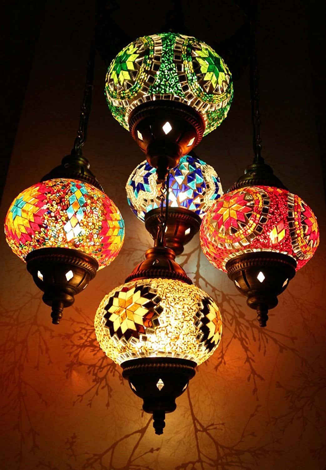Multicolour Turkish Moroccan Style Mosaic Hanging Lamp Light Hand Made