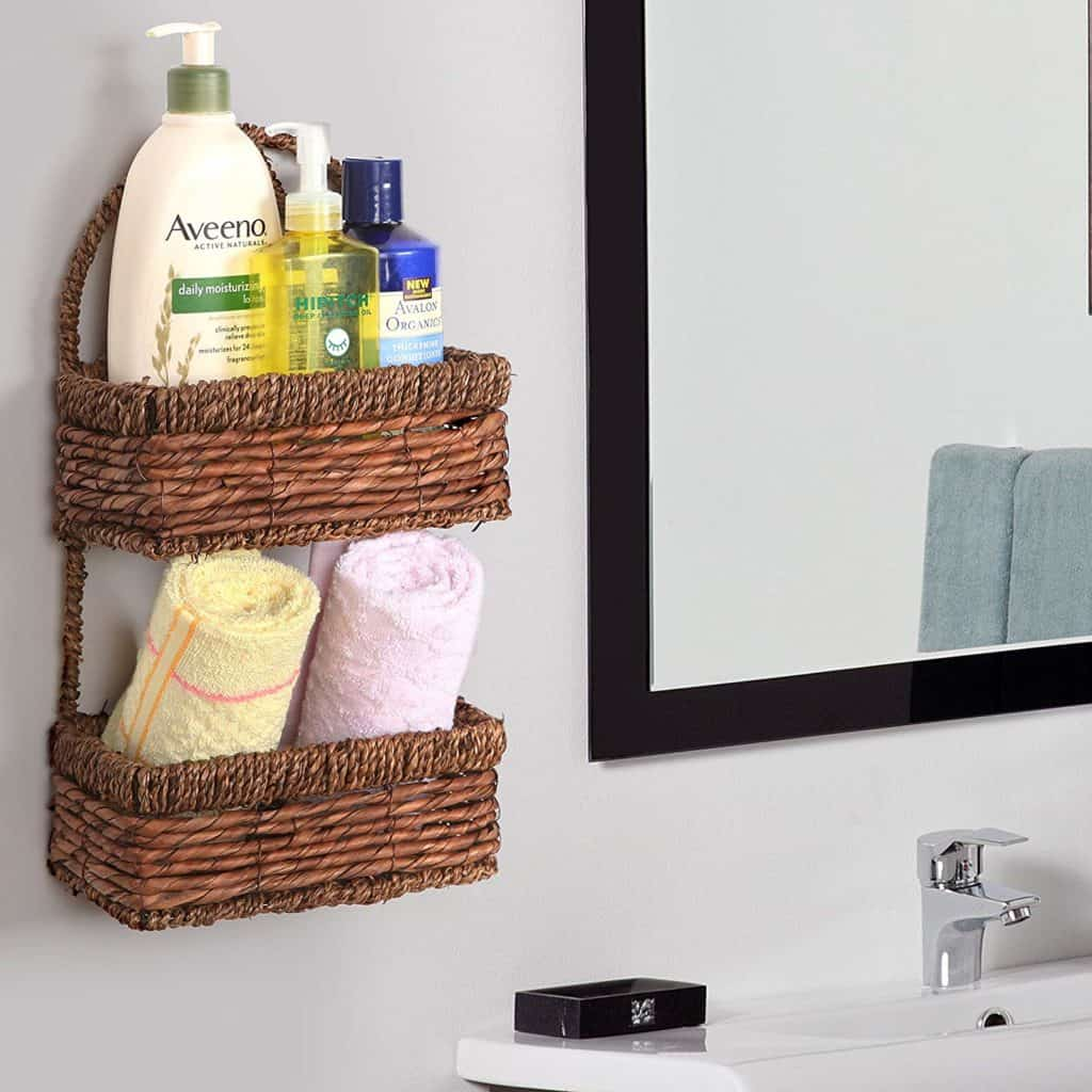 MyGift Hand-Woven Seagrass 14-Inch Wall Hanging 2-Tier Storage Basket,