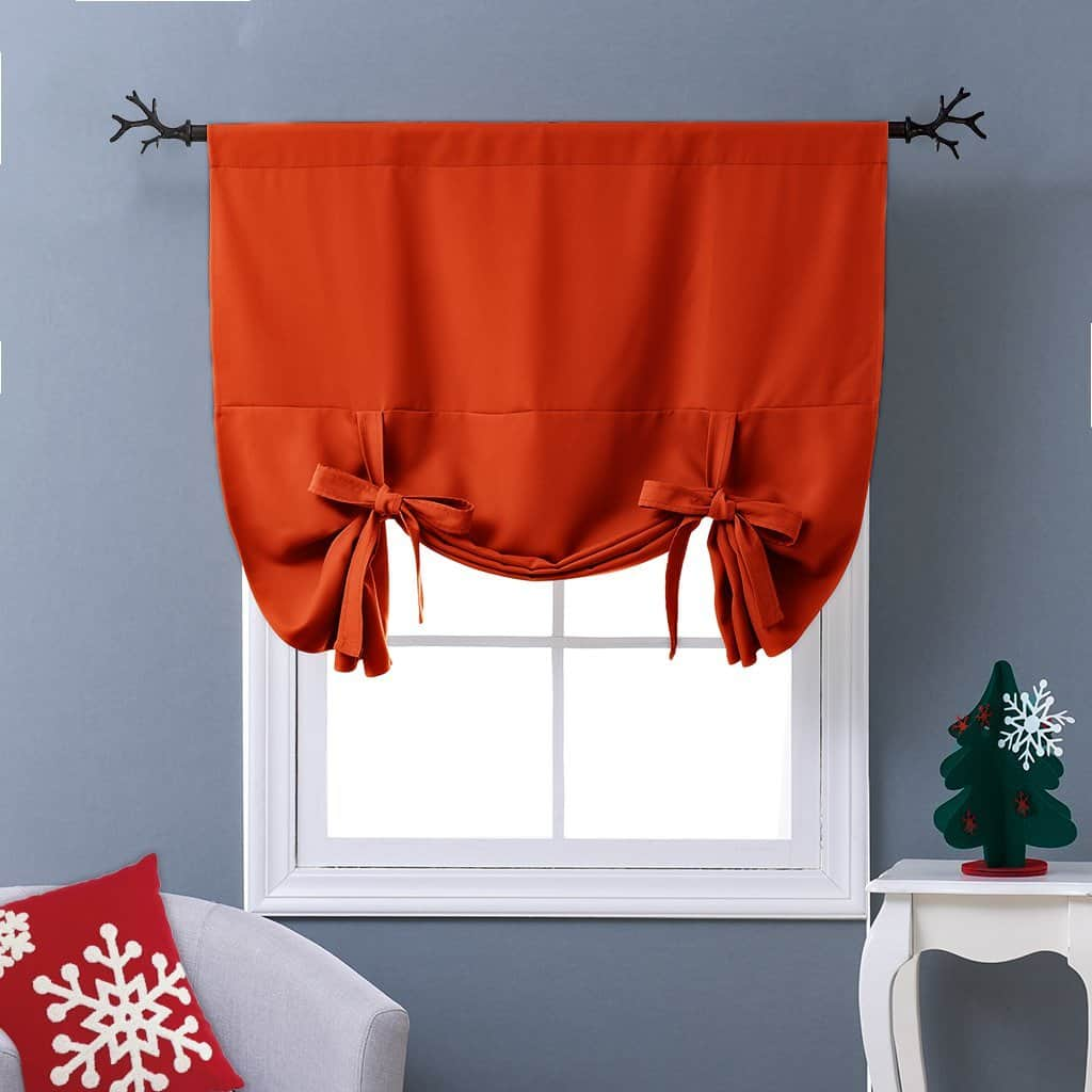 Nicetown Thermal Insulated Blackout Curtain In Orange Tie Up Shade