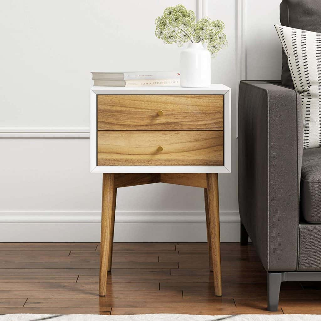Nathan James 32702 Harper Mid-Century Side Table 2-Drawer Nightstand