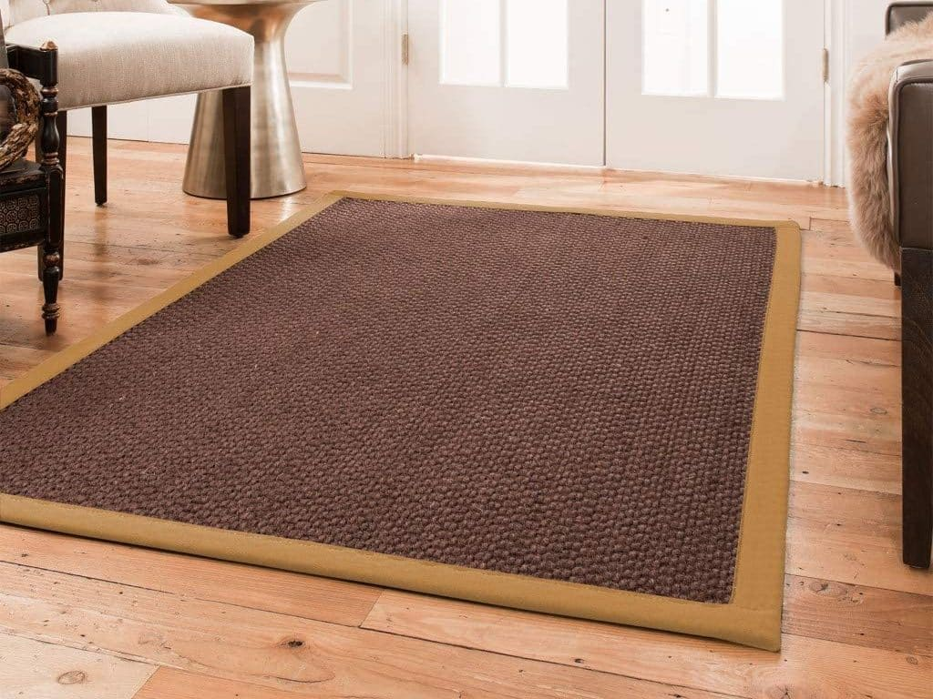 Natural Area Rugs 100% Natural Fiber Handmade Talas, Redish Dark Brown Sisal Rug
