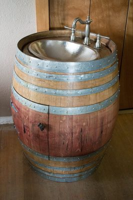 Natural Wine Barrel Vanity with Hammered Nickel Sink