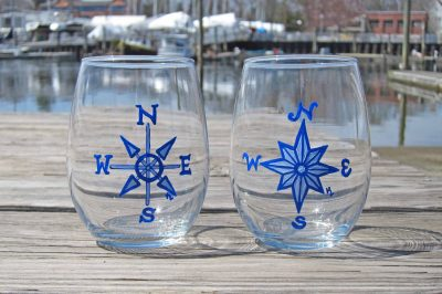 Nautical Blue Compass Rose - Set of 2 Hand Painted Wine Glasses