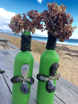 Nautical Green Vase Pair Hand Painted Irish Green Wine Bottle Vases