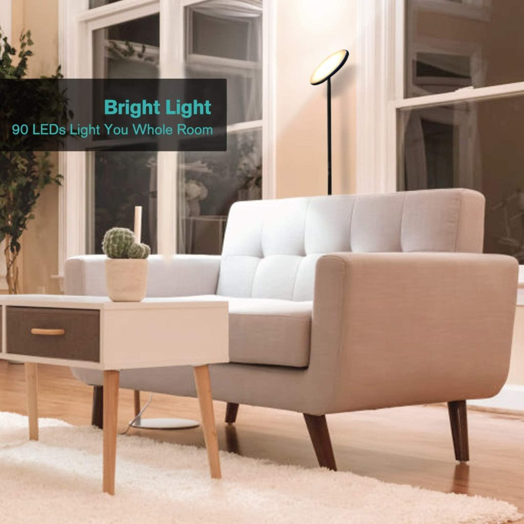 Nekteck LED Floor Lamp, Bright Lighting Torchiere Floor Lamps for Living Rooms