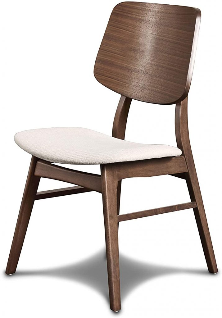 New Classic Furniture Mid-Century Modern Oscar Wooden Back Chair, Set of 2, Walnut
