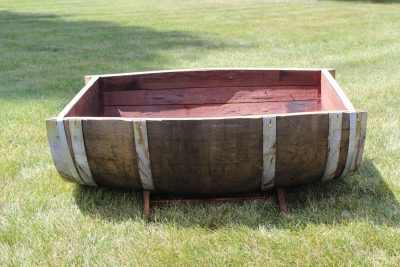 Oak Wood Split Wine Barrel Planter