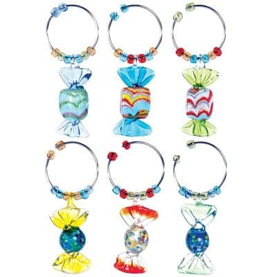 Oenophilia Wine Glass Charms, Stem Dangles, Candies of Different Colors