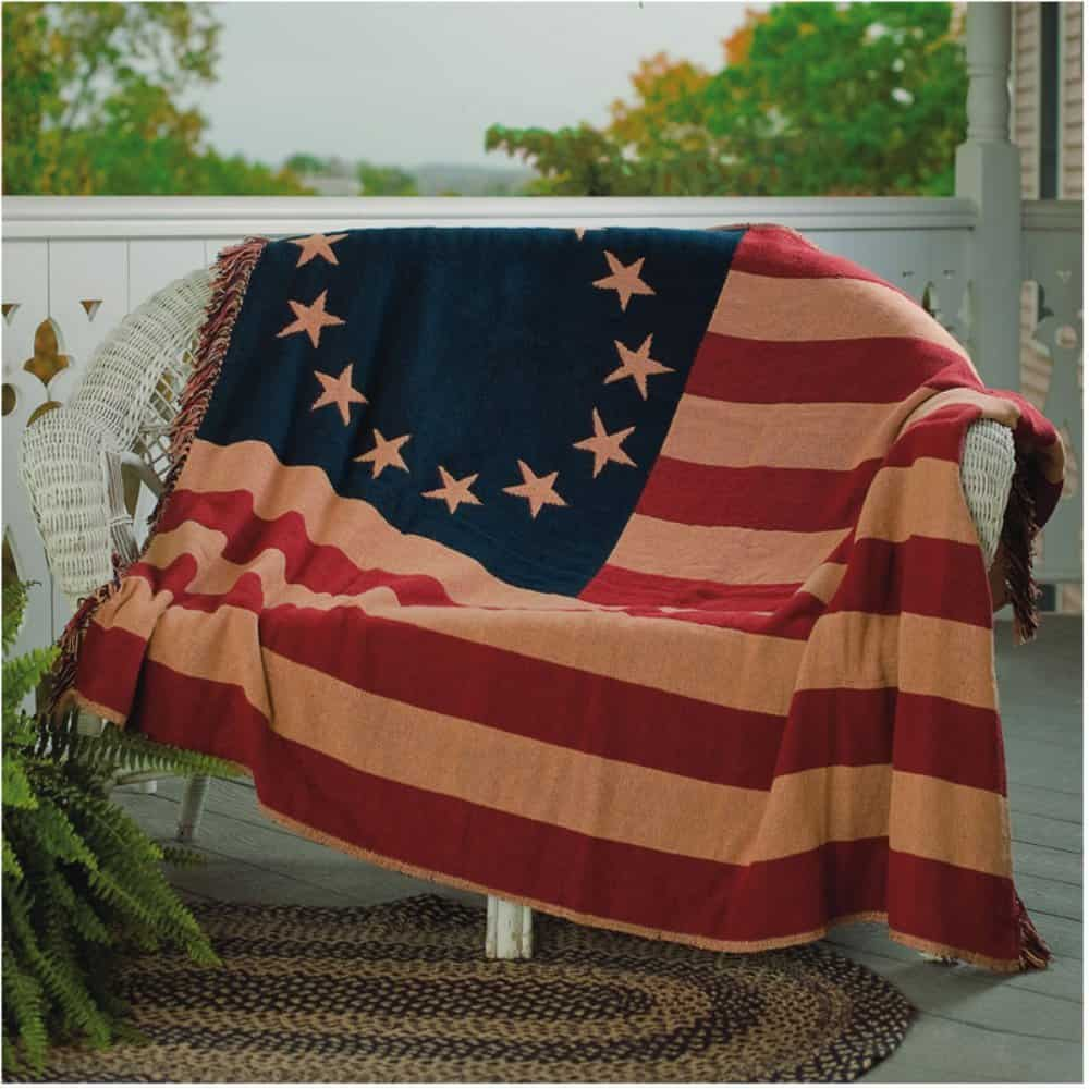 Old Glory 50 X 60 Woven Patriotic American Flag Throw Quilt