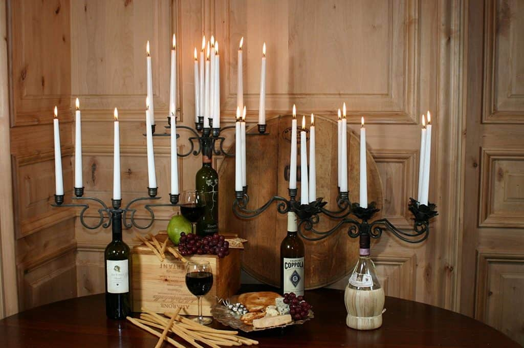 Old River Road Wine Bottle Candelabra, Holds Nine Candles